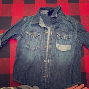 Button down chambray toddler boy shirt